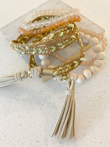 Stack It Up Right Bracelet Set in Tan