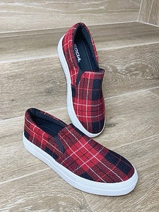 Wrap It Up Red Plaid Comfort Platform Sneakers