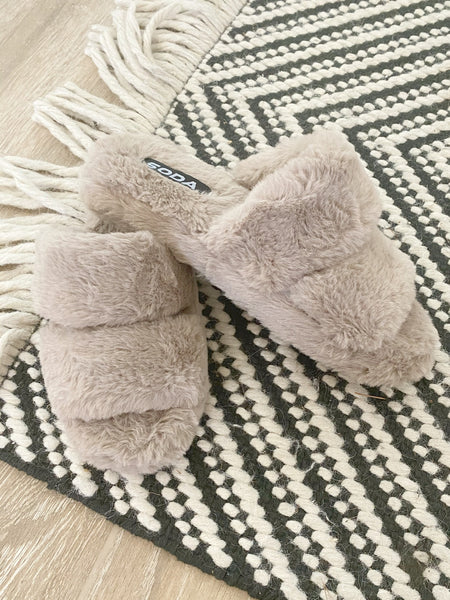 The Corina Fuzzy Slipper in Taupe