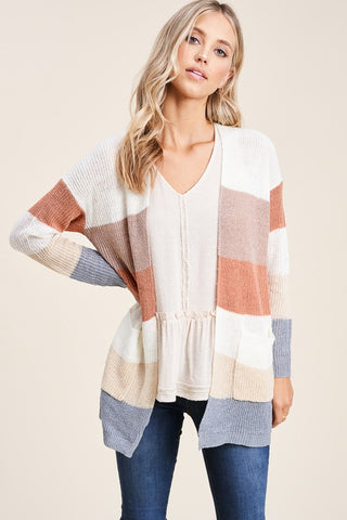 Softly Striped Knit Pocket Cardigan