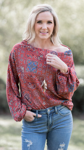 RESTOCKED!! Boho Rust Paisley Top