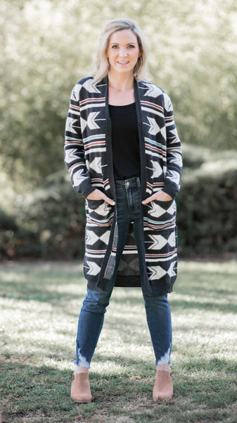 Winter Aztec Midi Cardigan