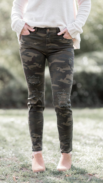 Take a Hike Camo Distressed Skinny Jeans