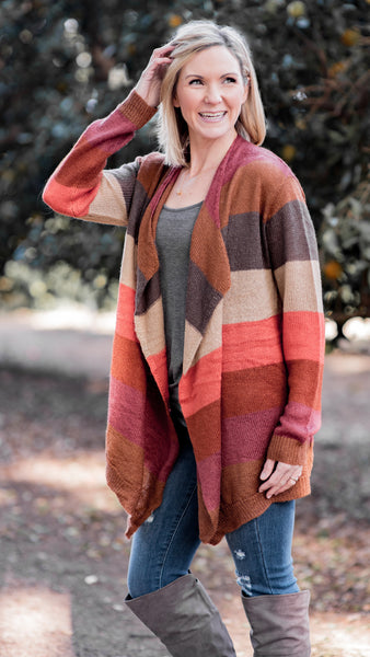 Winter Sunset Striped Open Front Cardigan