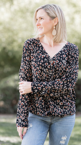 Midnight Blooms V Neck Navy Knit Top