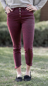 Cranberry Leopard Button Front Skinny Jeans