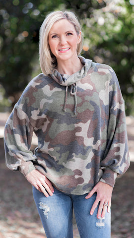 Baby French Terry Camo Cowl Neck Top