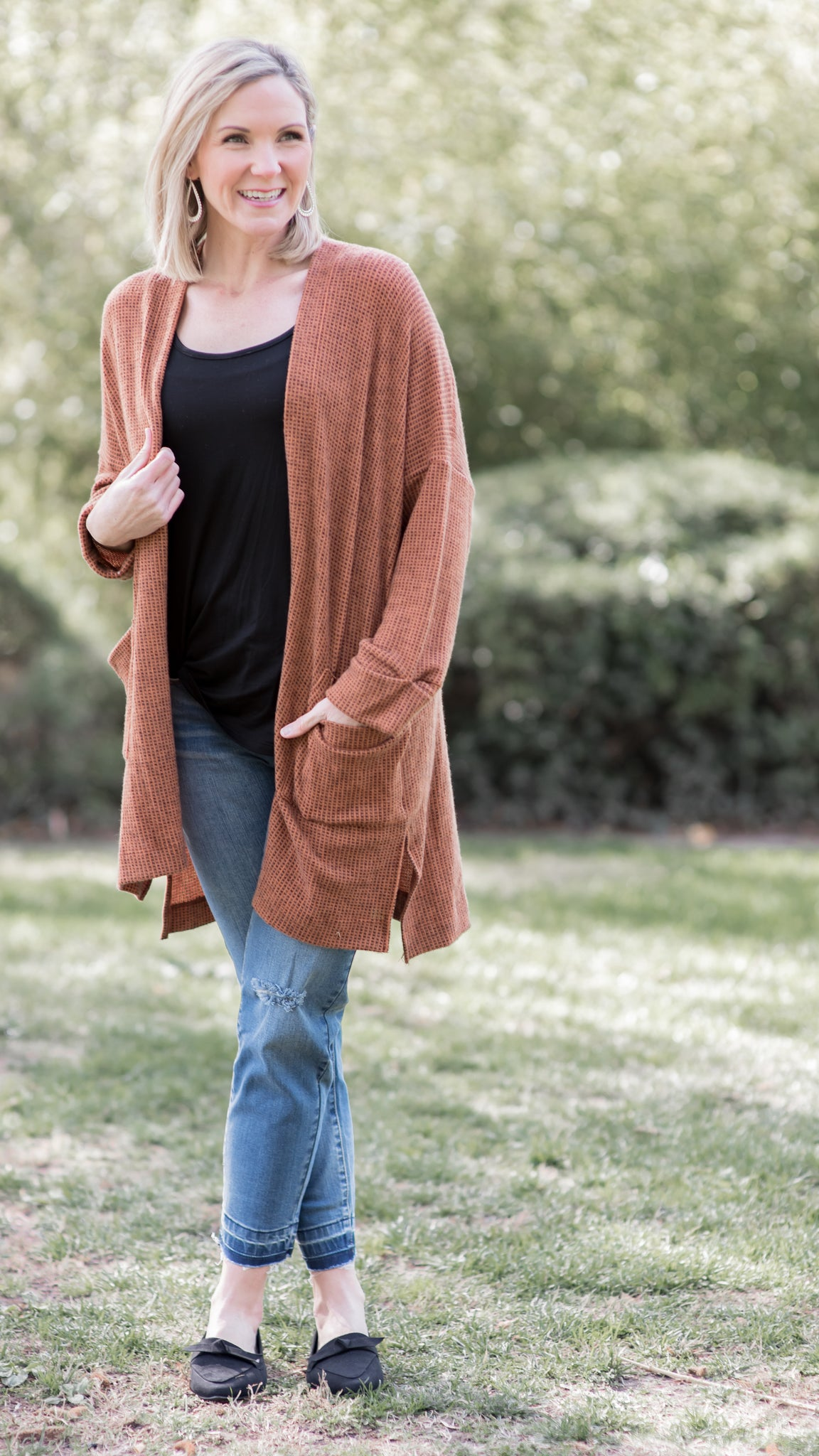 Brushed Two Tone Rust Cardigan