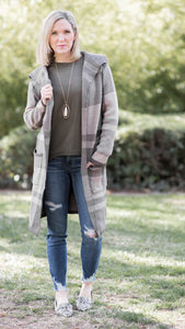Shawl Collared Plaid Pattern Knit Midi Cardigan- Taupe