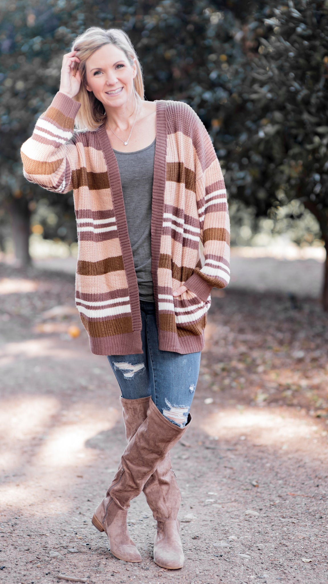 Winter Blushin' Striped Slouchy Cardigan