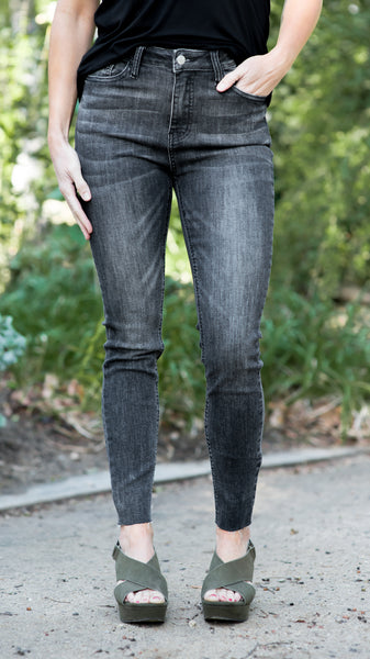 RESTOCKED!!! High Rise Grey Cut Hem Stretch Skinny Jeans