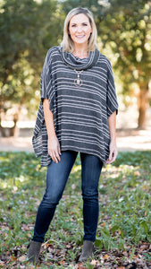 The Wheaton Striped Poncho Knit Top