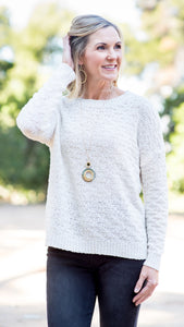 RESTOCKED!! Cozy in Cream Textured Knit Sweater Top