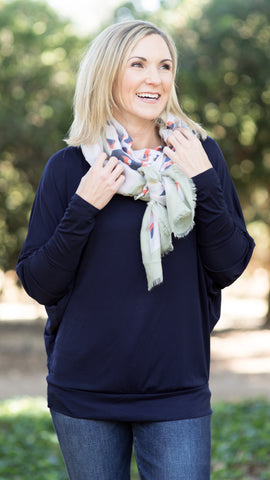 Pops of Navy Animal Print Scarf