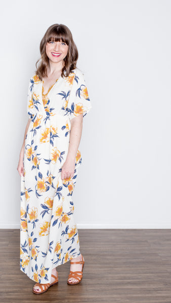 Golden Blooms Deep V-Neck Maxi Dress