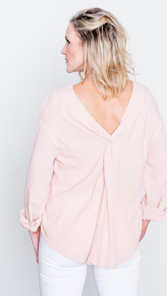Sweet as Honey Twist Back Blouse in Peach