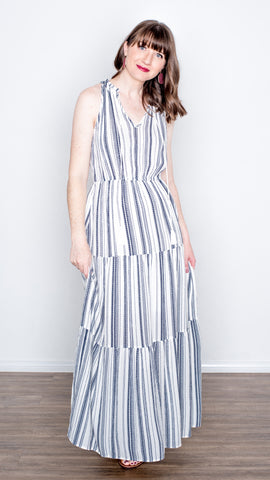 White Sands Blue Stripe Halter Maxi Dress
