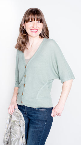 Pull it Together Waffle V-Neck Top- Sage