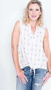 Jackie O Sleeveless Top in Ivory and Blue