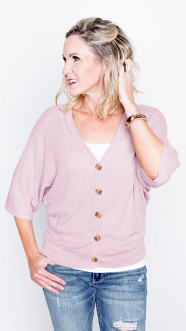 Pull it Together Waffle V-Neck Top- Mauve