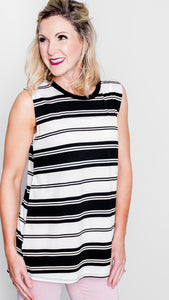 Kimberly Striped Knit Tank in Black