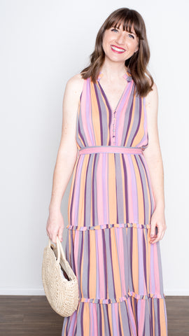 Sunset Stripes Halter Button Maxi Dress