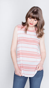 Kimberly Striped Knit Tank in Blush