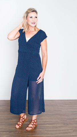 Sammy Navy Jumpsuit with Multi Colored Dots