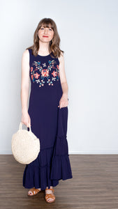 Grecian Sleeveless Maxi Dress - Blue