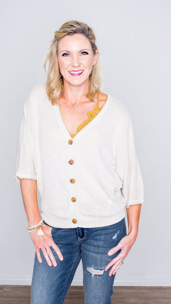 Pull it Together Waffle V-Neck Top- Oatmeal