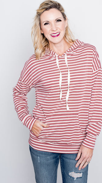 Soft Mauve Striped Drawstring Hoodie