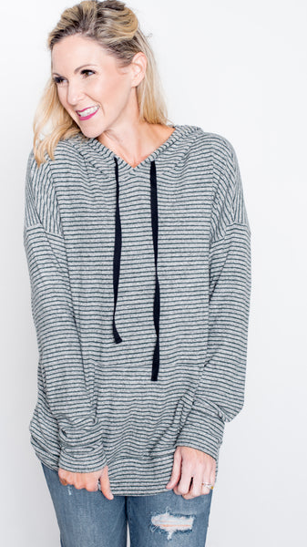 Hunter Green Striped Drawstring Hoodie