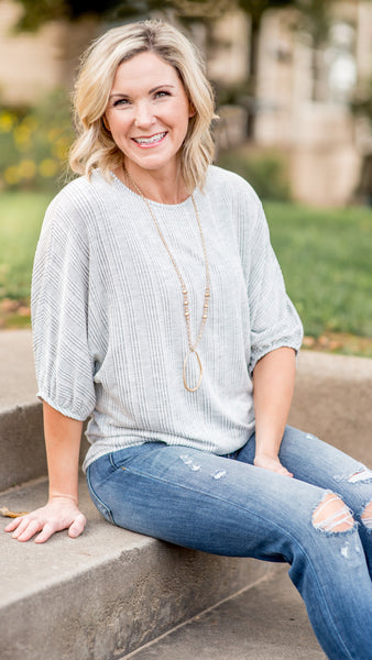 Heather Grey Striped Sleeve Top