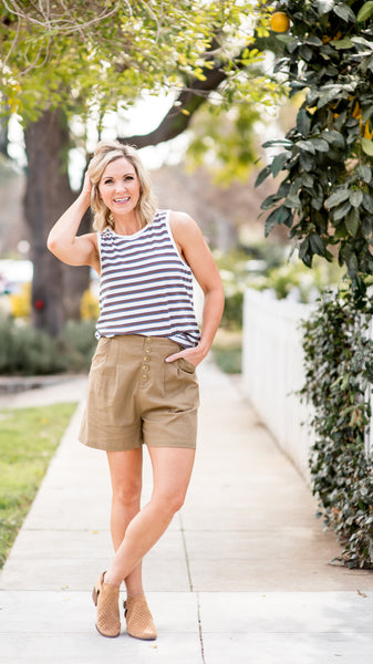 Taupe Button Down Pleat Shorts