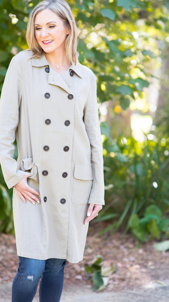New York Times Button Down Trench Coat
