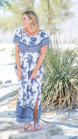 Oceanside Harbor Stripe Border Long Dress