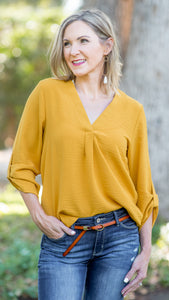 Wishing for Fall Roll Tab Blouse- Mustard