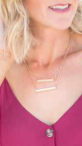 Double Layer Bar Necklace- White/Gold
