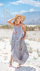 Flower Fields Round Hem Maxi Dress-Gray