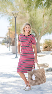 Take Me Out To The Ballgame Mauve Striped T-shirt Dress