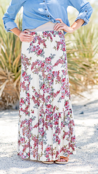 Ivory Lilac Floral Tiered Maxi Skirt