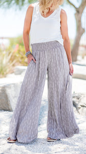 Taupe Triple Dot Smocked Wide Leg Pants