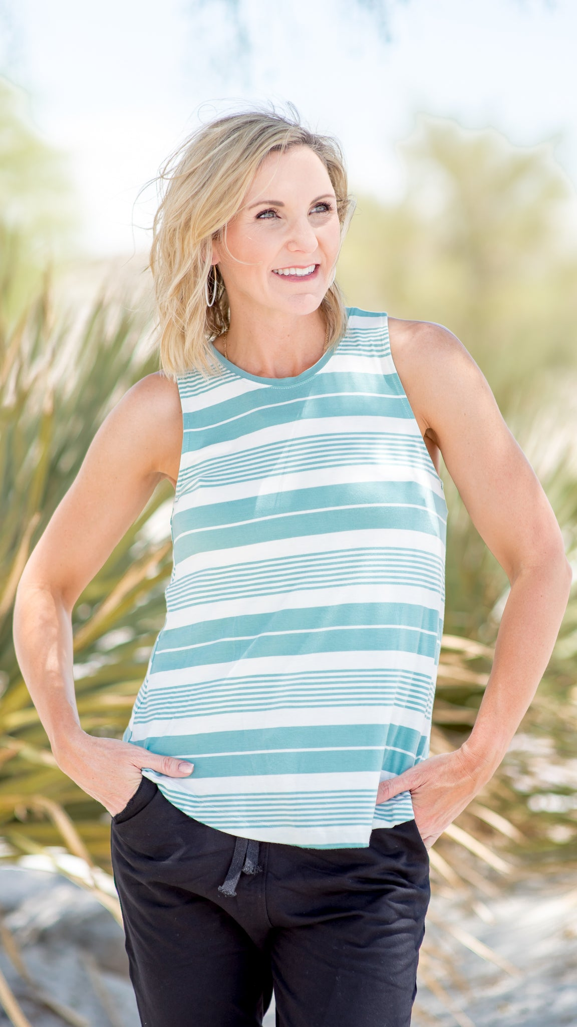 Aqua Marine Striped Tank Top