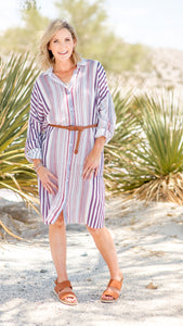 Striped Shirt Dress in Mauve