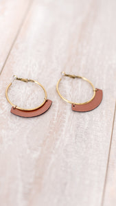 Rustic Hoop Earrings - Cognac