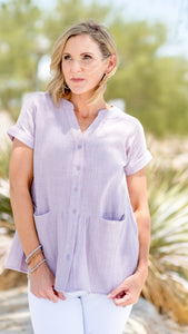 Always Late Linen Peplum Top in Lavender