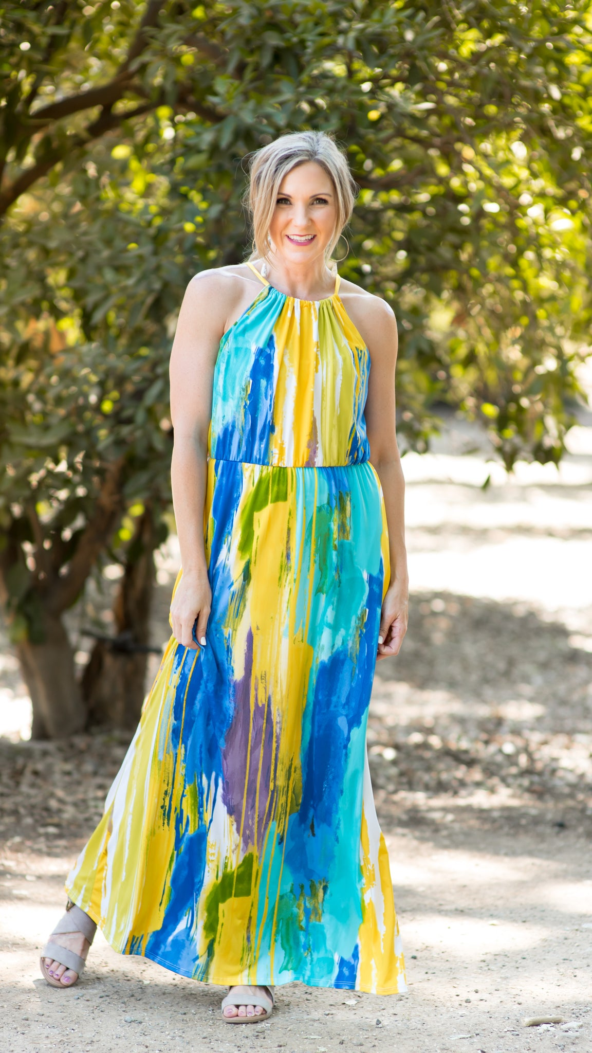 Newport Beach Halter Maxi Dress
