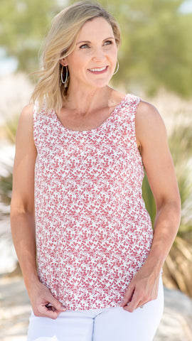 The Samantha Sleeveless Scoop Neck Woven Top