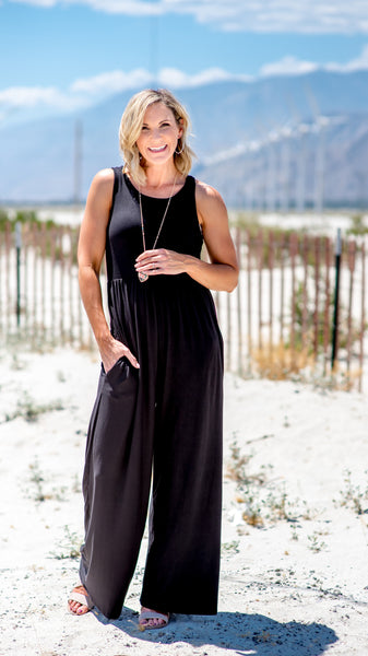 Basic Babe Black Knit Jumpsuit