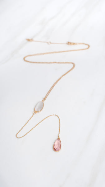 Gem Y- Chain Necklace - Worn Gold